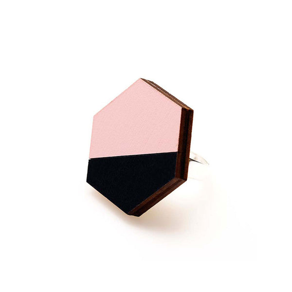 Hexagon Splice Ring - Pink Mist/ Indigo