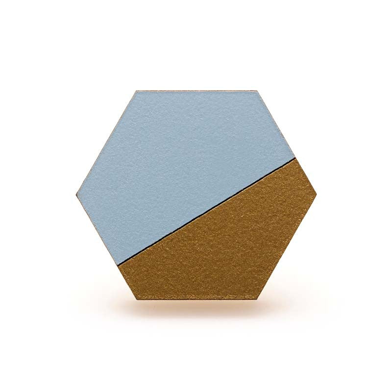 Hexagon Splice Ring- Sky/ Gold
