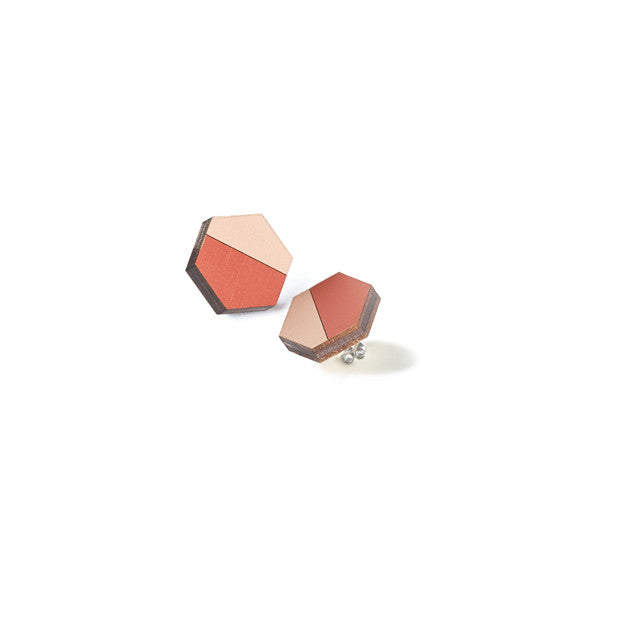 Hexagon Studs - Koi/Blush