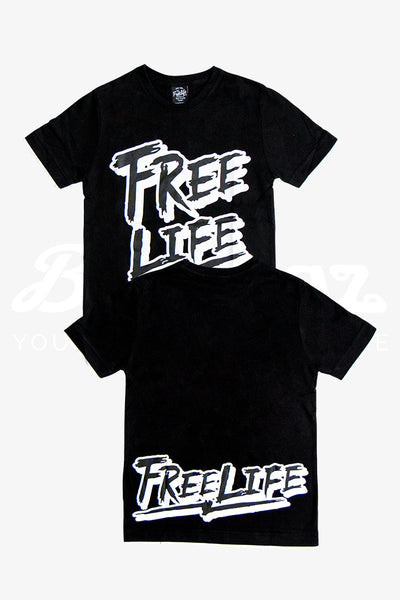 Fake Two Piece Calligraphy T-Shirt: Black