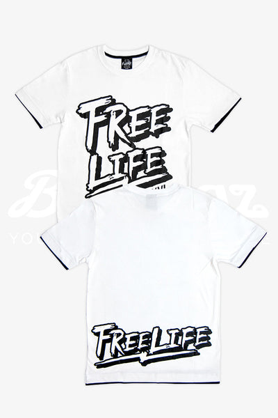 Fake Two Piece Calligraphy T-Shirt: White
