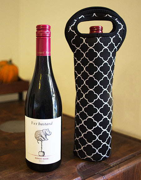 Insulated Wine Tote | Black Quatrefoil Design