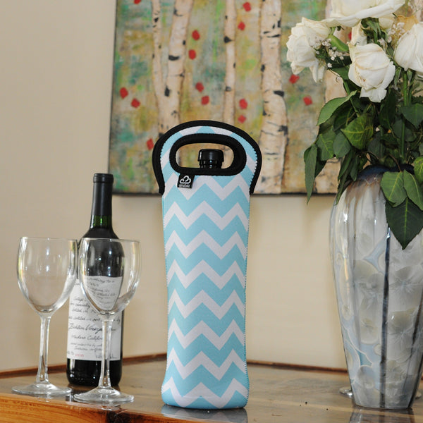 Insulated Wine Tote | Blue Chevron Design