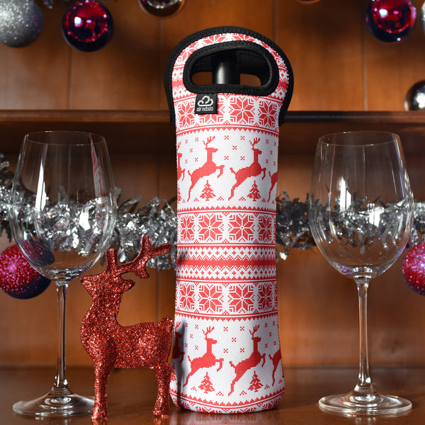 Insulated Wine Tote | Reindeer Design