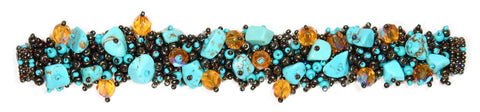 Fuzzy Bracelet with Stones Turquoise and Bronze