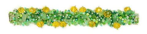 Fuzzy Bracelet with Stones Green Crystal Amber