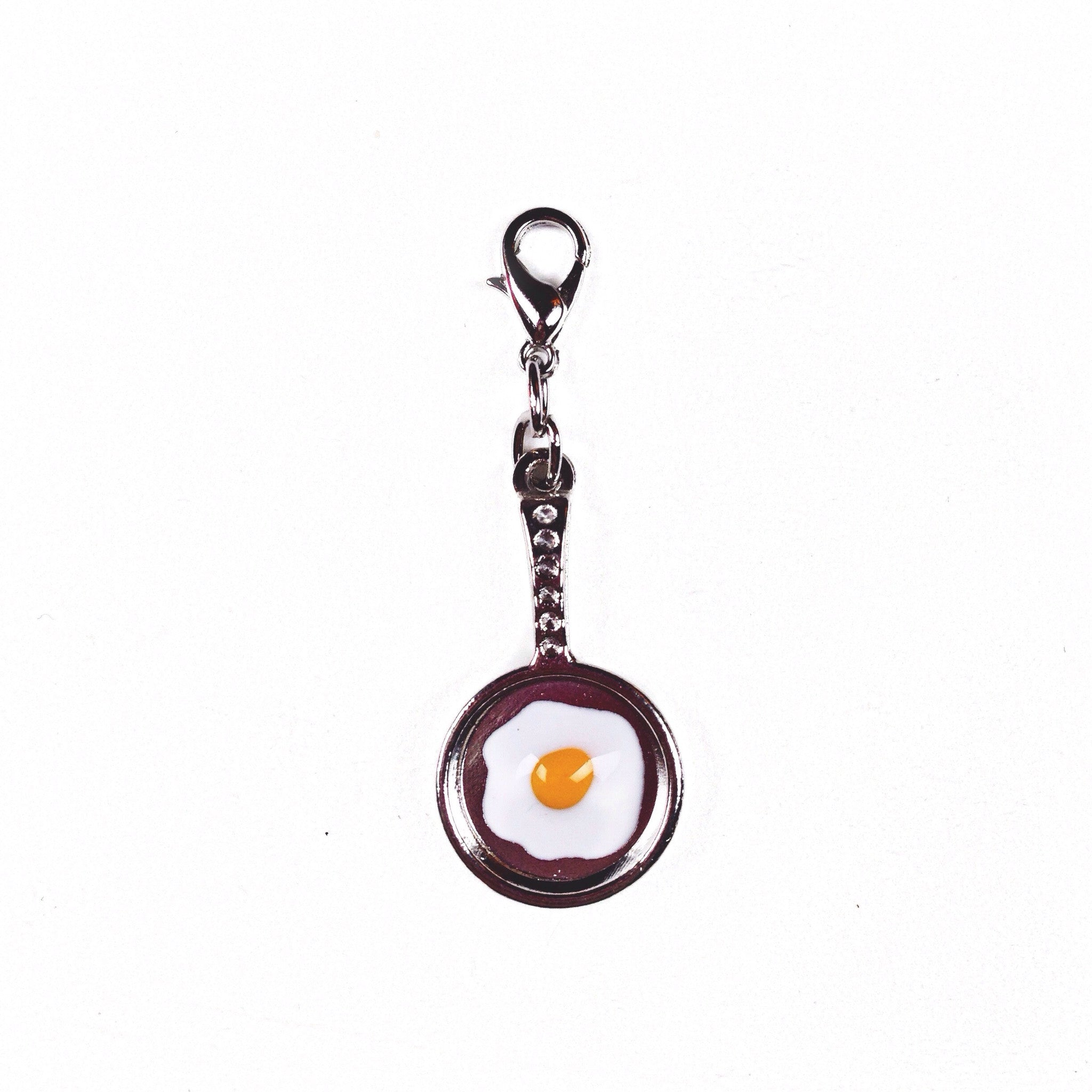 Fried egg in a frying pan charm perfect for travelers notebooks