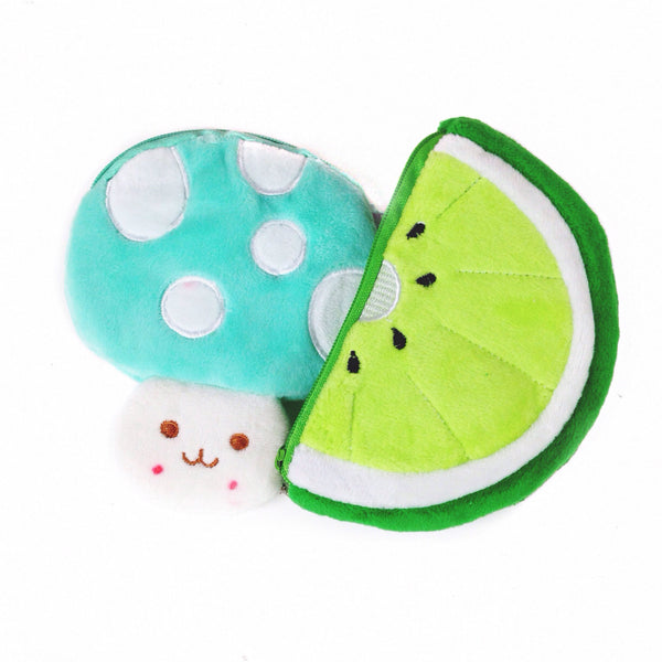Kawaii mushroom shaped, mint colored coin pouch and lime shaped coin purse