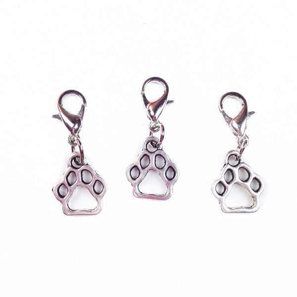 Paw print charms on lobster clasps