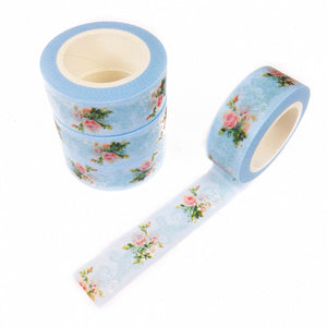 Vintage Blue Floral Washi Tape - Unicorn Planner