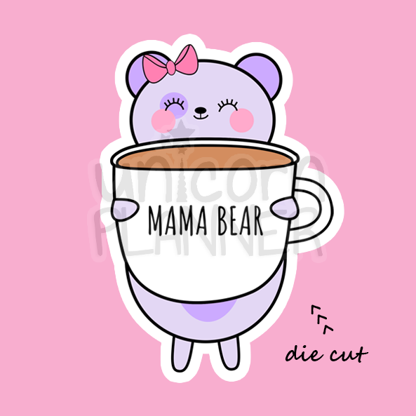 Bootsy Bear with Mama Bear Coffee Cup (DIE CUT)