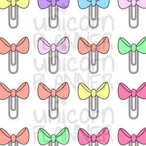 Bow Paper Clips Rainbow Printable Paper (DIGITAL DOWNLOAD)