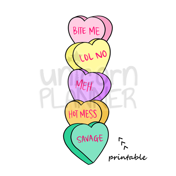 photo relating to Printable Conversation Hearts identify Interaction Centre Bookmark (Electronic Down load)