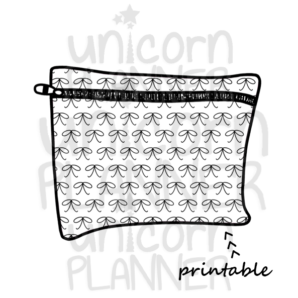 Planner Pouch - Skinny Bows Printable Die Cut (DIGITAL DOWNLOAD)