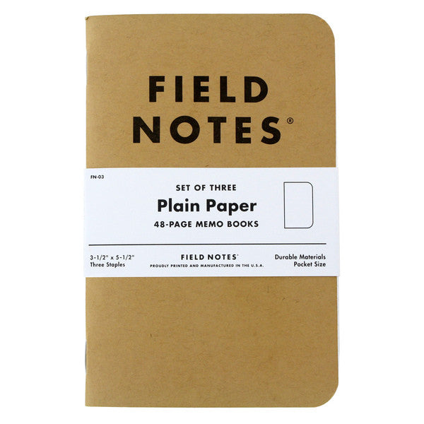 Field Notes Plain Paper 3-Pack