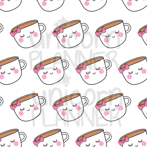 Girl Face Coffee Cup Printable Paper (DIGITAL DOWNLOAD)