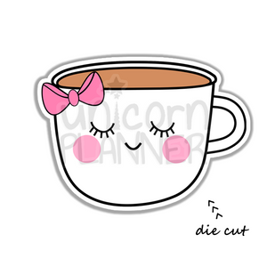 Girl Face with Bow Coffee Cup (DIE CUT)