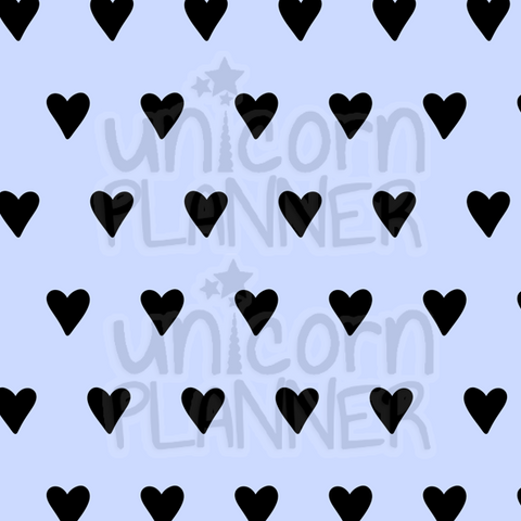 Heart - Black and Periwinkle Printable Paper (DIGITAL DOWNLOAD)