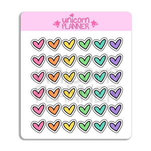 Hearts - Rainbow (STICKERS)