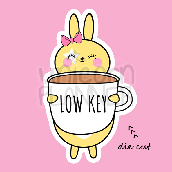 Honey Bunny with Low Key Coffee Cup (DIE CUT)