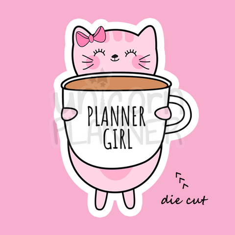 Kitty Cotton with Planner Girl Coffee Cup (DIE CUT)