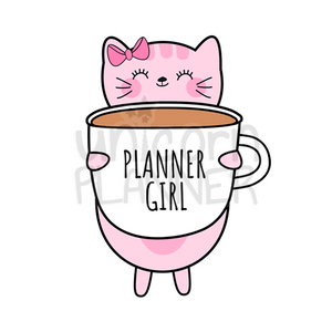 photo relating to Printable Coffee Cups identified as Kitty Cotton with Planner Female Espresso Cup Printable (Electronic Down load)