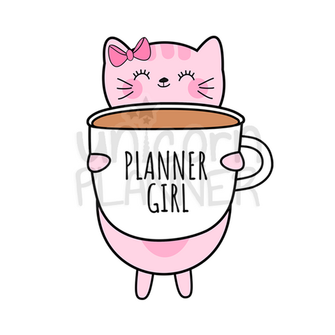 Kitty Cotton with Planner Girl Coffee Cup Printable (DIGITAL DOWNLOAD)