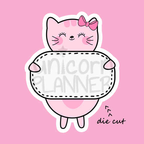 Kitty Cotton with Sign (DIE CUT)
