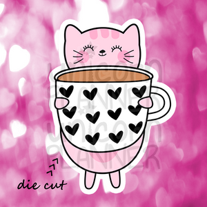 Kitty Cotton with Heart Coffee Mug (DIE CUT)