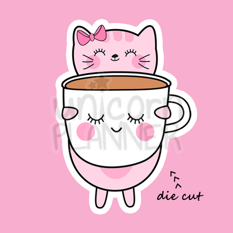 Kitty Cotton with Girl Face Coffee Mug (DIE CUT)