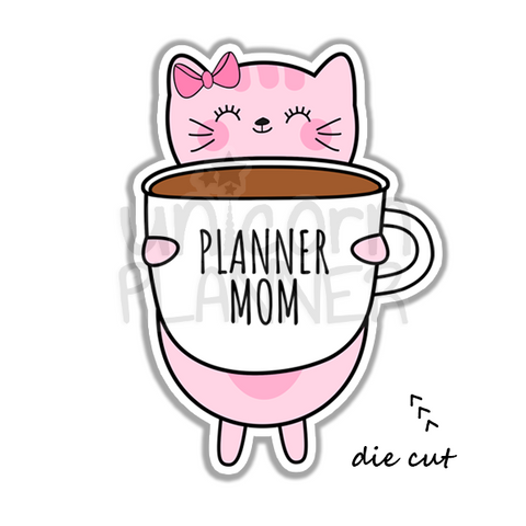 Kitty Cotton with Planner Mom Coffee Cup (DIE CUT)