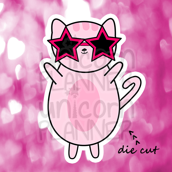 Kitty Cotton with Star Sunglasses (DIE CUT)
