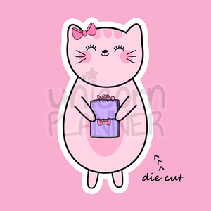 Kitty Cotton Holding Lilac Travelers Notebook (DIE CUT)