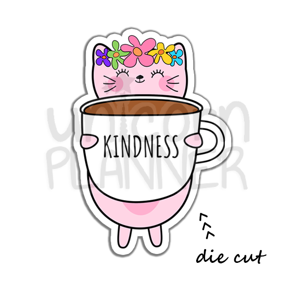 Kitty Cotton with Kindness Coffee Cup (DIE CUT)