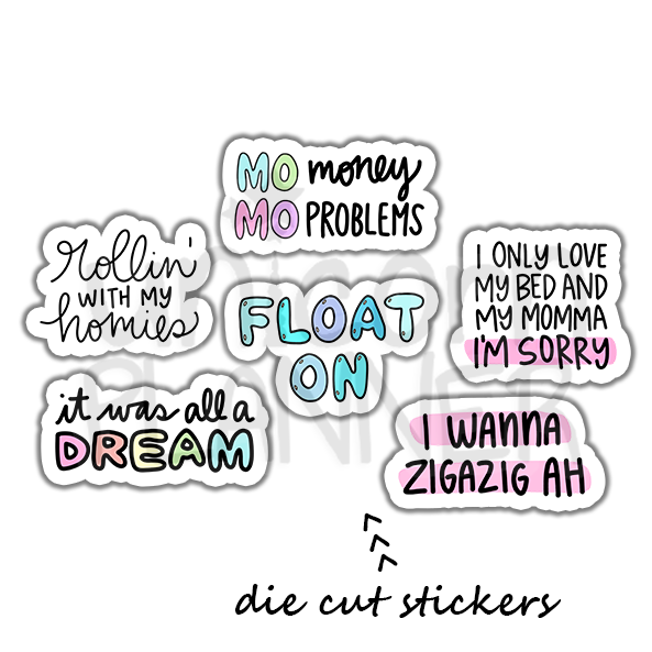 Lyrics Die Cut Sticker Pack (STICKERS)