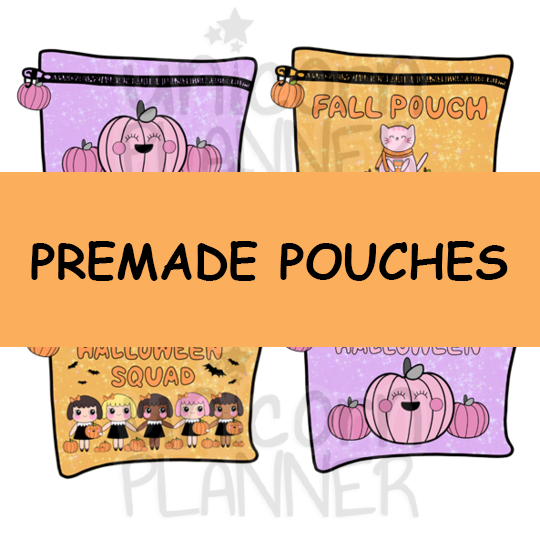 Paper Planner Pouch - Pumpkins, Fall, Squad, Halloween (PREMADE)