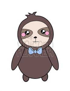 graphic regarding Bow Tie Printable titled Simon the Sloth with Bow Tie Printable (Electronic Down load)