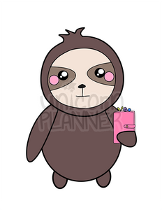 Simon the Sloth with Planner Printable (DIGITAL DOWNLOAD)