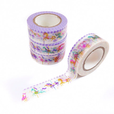 Rolls of carousel washi tape with horses and other animals