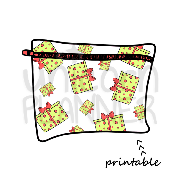 Planner Pouch - Gifts - Greens Printable Die Cut (DIGITAL DOWNLOAD)
