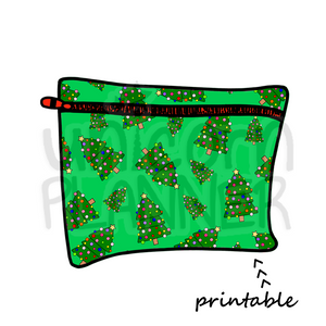 Planner Pouch - Christmas Trees - Greens Printable Die Cut (DIGITAL DOWNLOAD)
