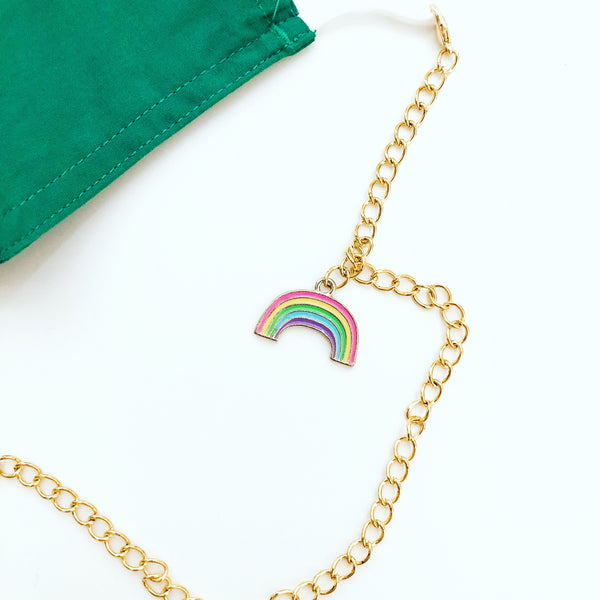 Mask Chain - Gold Detachable Necklace Chain - Rainbow