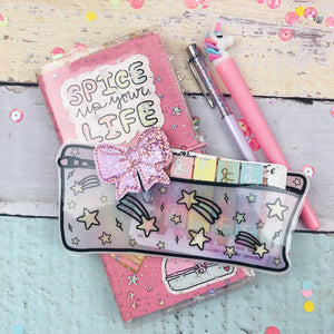 Hobo Weeks Paper Planner Pouch - Shooting Stars - Laminated (PREMADE)