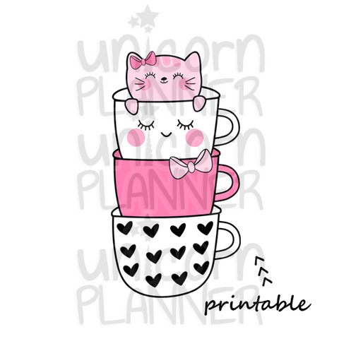 Kitty Cotton with Coffee Cups Bookmark (DIGITAL DOWNLOAD)