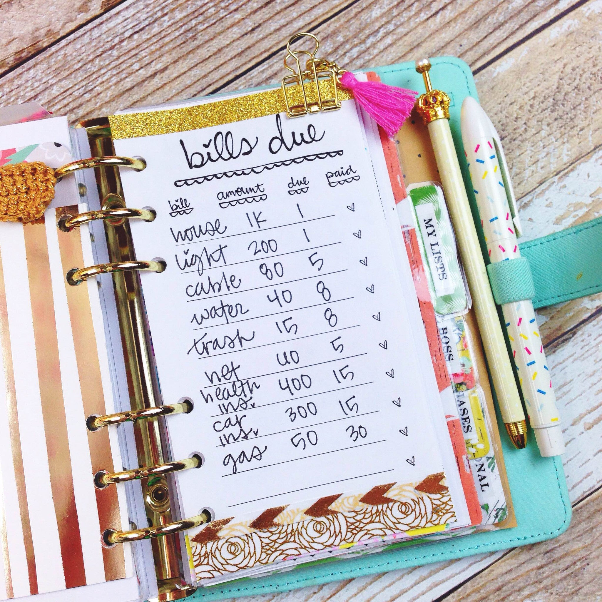 Bills Due Printable Personal Size Planner Insert - Unicorn Planner
