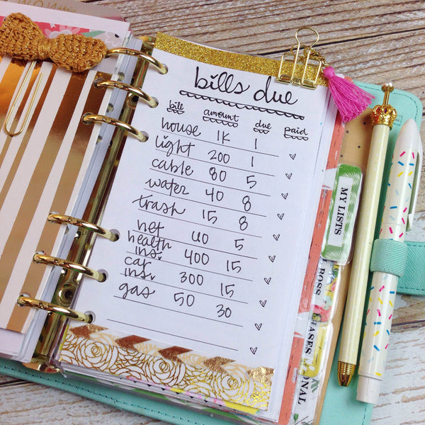 Bills Due Printable Personal Size Planner Insert