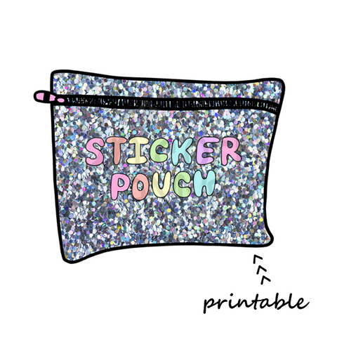 Sticker Pouch - Glitter Printable Die Cut (DIGITAL DOWNLOAD)