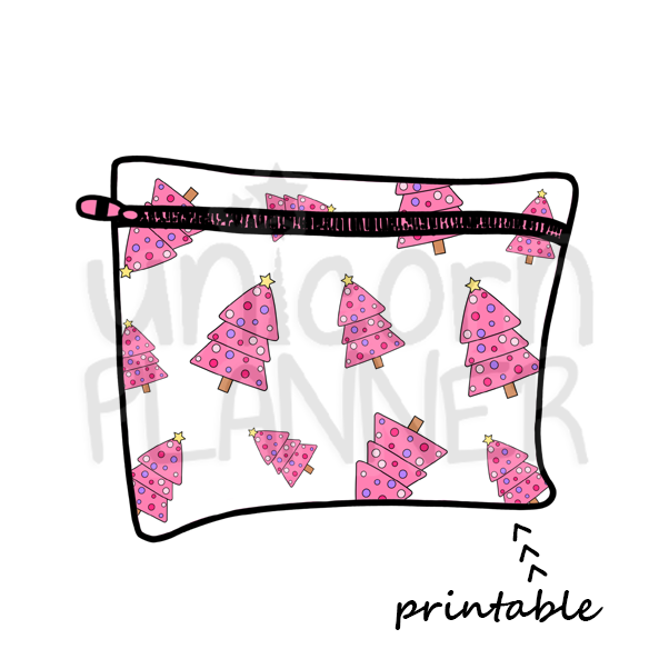 Planner Pouch - Christmas Trees - Pinks Printable Die Cut (DIGITAL DOWNLOAD)
