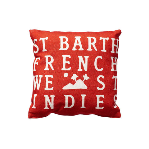 BEACH PILLOW RED WITH WHITE LOGO