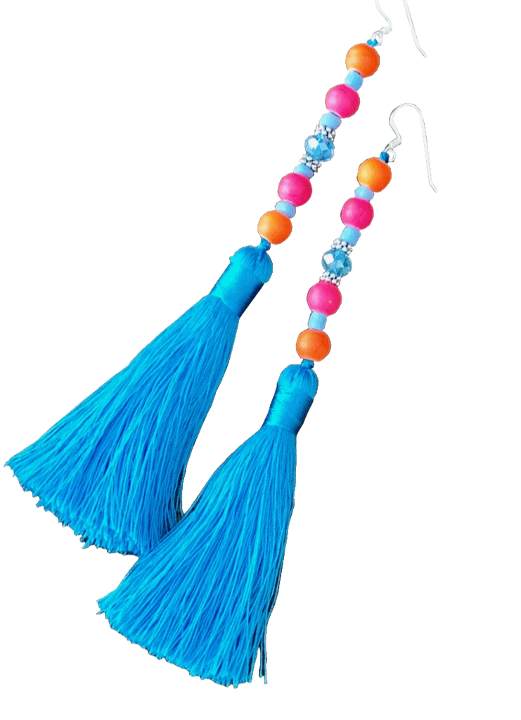 Mardi Gras Earrings in Black, Blue, Mint, Orange, Pink and White.